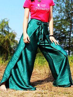 Thai Silk Yoga Pants Fisherman Hippie Pants Wrap Gypsy Pants Plus Size Women Pants: Art on Fabric