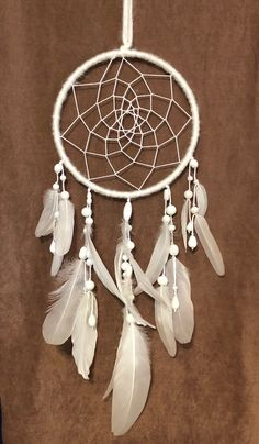 Excited to share this item from my etsy shop: White Dream Catcher, Feathered, White Dreamcatcher, Dream Catcher Wall Hanging, Cruelty Free Feathers 393572454932744659 Dream Catcher Art, Dream Catcher White, Small Dream Catcher, Diy Tumblr, Dream Catcher Wallpaper Iphone, Art Mural, Wall Art, Dream Catcher Native American, Frame Crafts