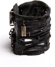 slashed leather cuff