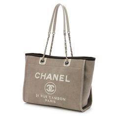 07b97b7761bc Chanel Beige Canvas Deauville Shopping Tote Handbag -  1