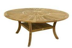Table ronde teck massif avec plateau tournant d 150 ou for Recherche table de jardin