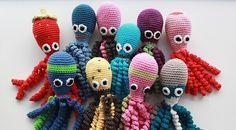 How to Make an Amigurumi Crochet Octopus ~ ✁ CK Crafts Octopus Crochet Pattern, Crochet Fish, Tunisian Crochet, Crochet Animals, Crochet For Kids, Crochet Toys, Crochet Baby, Knit Crochet, Crochet Patterns