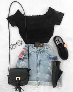 cute outfits with pink best outfits is part of Fashion outfits - cute outfit flowery and dark jean skirt with pink roses , black vans (shoes) , and off the shoulder black top with cute purse for the summer Image source Teen Fashion Outfits, Mode Outfits, Cute Fashion, Outfits For Teens, Girl Outfits, Trendy Fashion, Fashion Fashion, Womens Fashion, Casual Teen Fashion