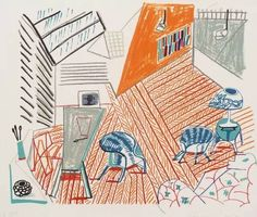 "Artwork by David Hockney, Pembroke Studio with Blue Chairs and Lamp"", from: ""Moving Focus, Made of Colour lithograph David Hockney Tate, David Hockney Paintings, Tamara, Pop Art Movement, Art Institute Of Chicago, Contemporary Art, Modern Art, Illustration Art, Art Prints"