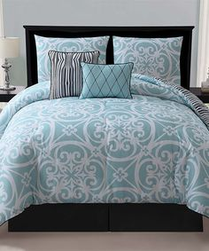Another great find on #zulily! Blue Kennedy Five-Piece Comforter Set #zulilyfinds