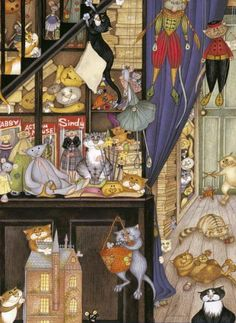 Painting with many cats. Cats in the Toyshop by Linda Jane Smith.