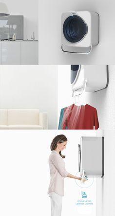 The Samsung Hanger Washing Machine just completes the entire washing process with an additional step. Read Full Story at Yanko Design ♛BOUTIQUE CHIC♛ Home Gadgets, Usb Gadgets, Compact Living, Yanko Design, Tiny Spaces, Cool Inventions, Tiny House Living, Smart Home, Hanger