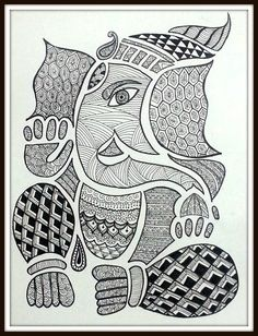 Black and white pineapple doodle zentangle art Ganesha Drawing, Lord Ganesha Paintings, Ganesha Art, Ganpati Drawing, Ganesha Sketch, Doodle Art Drawing, Mandalas Drawing, Zentangle Drawings, Easy Doodle Art