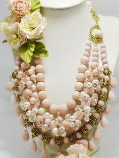 Wedding Peach Coral Jewelry Statement Multi Strand Necklace with Spring Flowers, Beaded Bridal Holiday Necklace, Gift for Her, Fashion 2016
