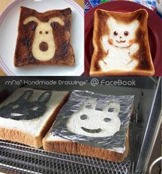 How to make a cute toast   Create the design on the foil  Put the foil above the toast then putting it in the oven