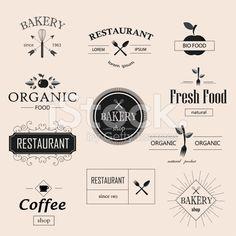 Vintage bakery, restaurant, organic food logotypes set. royalty-free stock vector art