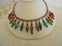 Roy G. Biv Paper Bead Necklace by NewCroneCraftworks on Etsy