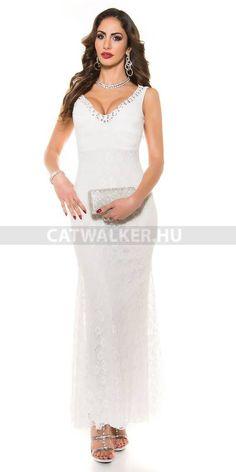 Estélyi ruha csipkés, gyöngyökkel díszített K9108 - fehér Position, Fashion Outfits, Styles, Clothes For Women, Wedding Dresses, Lace, Dress, Search, Outerwear Women