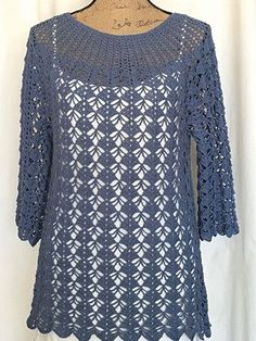 Ravelry: Shear Pleasure Top pattern by Mona Modica - Crochet Clothing and Accessories Black Crochet Dress, Crochet Jacket, Crochet Cardigan, Tunic Pattern, Top Pattern, Free Pattern, Pull Crochet, Crochet Top, Simple Crochet