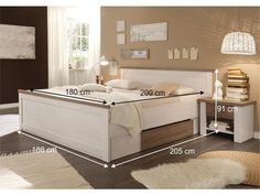 Manželská posteľ 180 cm - Tempo Kondela - Lumera (ul. priestor + 2ks stolík) (biela + dub sonoma)