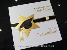 black and gold handmade greeting cards | Star Achievement - Handmade Graduation Card: Available in Gold