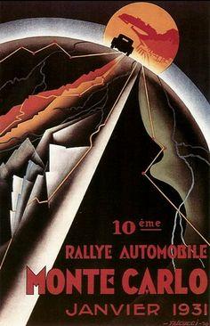 Poster by Robert Falcucci, 1930, 10ème Rallye Automobile Monte Carlo.