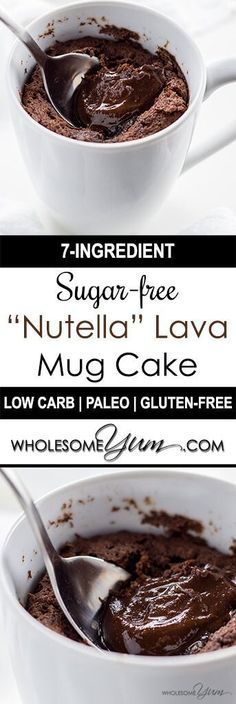 Nutella Mug Cake Molten Lava Cake (Low Carb Paleo) - This molten lava quot; mug cake recipe is unbelievably healthy low carb paleo gluten-free and sugar-free. So easy with only 7 ingredients! Lava Cake Recipes, Mug Recipes, Sugar Free Recipes, Easy Recipes, Cookie Recipes, Healthy Recipes, Nutella Lava Cake, Molten Lava Cakes, Nutella Cookies