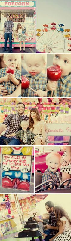 Family fun at the fair.  These are too stinkin' cute! Photo Session Ideas | Props | Prop | Child Photography | Clothing Inspiration| Fashion | Pose Idea | Poses | Carnival | Amusement Park | Rides
