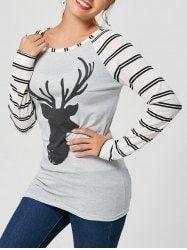 Stripe and Elk Printed Raglan Sleeve T-Shirt