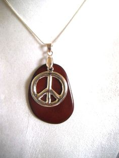 Silver Peace Sign Necklace, Brown Organic Pendant, Vegan Jewelry, Eco-Friendly Necklace, Organic Jewelry, Peace Sign Jewelry by TerriJeansAdornments on Etsy