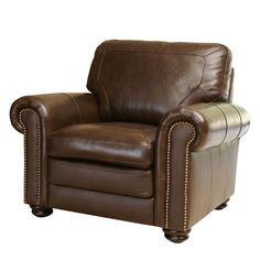 ABBYSON LIVING Bradford Top Grain Leather Armchair