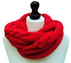 Handmade Red Infinity Scarf by Sue Maun
