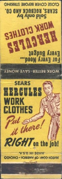 Sears, Roebuck and Company - Hercules Work Clothes - 1940s Match Cover