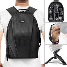 Vivitar Camera Backpack Bag for DSLR Camera Lens and Accessories w Altura Photo Wrist Strap and Pistol Grip Mini Tripod ** You can get additional details at the image link.