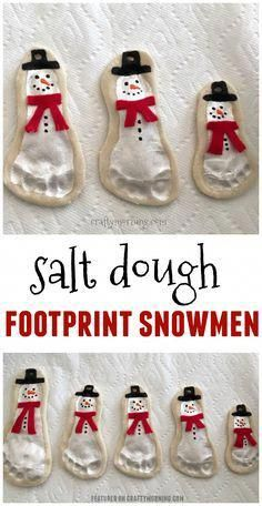 Salt dough footprint snowmen ornaments are adorable! Cute kids craft for christmas Michelle CraftyMorning com is part of Cute Kids Crafts Christmas Salt dough footprint snowmen ornaments are ador - Cute Kids Crafts, Xmas Crafts, Baby Crafts, Holiday Crafts For Kids, Baby Christmas Crafts, Salt Dough Christmas Decorations, Christmas Ideas For Kids, Grandparents Christmas Gifts, Salt Dough Ornaments