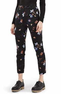 Topshop Floral Print Cigarette Pants