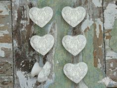 Gorgeous Love Heart Handles / Knobs / Pulls. Sets of 2 4 & 6 available on our website. Shabby Chic Mouldings & Appliques for your DIY Makeovers, Upcycling & crafts. FREE UK Postage Outside the UK just £4.50 FREE worldwide delivery on all orders over £75.00 www.chicmouldings...