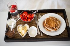 """"""" A romantic breakfast tray for your special someone is the best idea. Birthday Breakfast, Breakfast In Bed, Romantic Breakfast, Pancake Breakfast, Morning Breakfast, Perfect Breakfast, Breakfast Pictures, Tasty, Yummy Food"""
