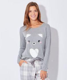 Pyjama 2 pièces, haut imprimé renard - LUKA - GRIS - Etam Lingerie - Octobre 2015 - 39,90