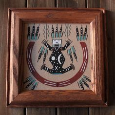 NATIVE AMERICAN FATHER SKY & MOTHER EARTH NAVAJO SAND PAINTING FRAMED