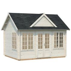 Allwood Chloe is a popular cottage styled kit cabin made from high quality Nordic wood. Chloe makes an ideal pool house, guest house, beach or garden cottage or even a stand-alone retail building. Garden Cottage, Home And Garden, Garden Shed Kits, Storage Building Kits, Building Plans, Building Design, Greenhouse Shed, Colonial, Cabin Kits