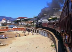 Cape Town - Monument Station: Atlantic Rail's operation of SAR 24 (in steam) South African Railways, Train Engines, Steam Locomotive, Cape Town, Trains, Dolores Park, Scenery, Busses, Beach