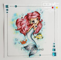 Copic Marker Europe: Lovely Mermaid.     Skin: E0000, E000, E00, E11, E13 + R20 for cheeks Hair: R00, R81, R83, R85 Flower: G12, G24 Eyes: BV01, BV000 Tail: BG000, BG10, BG11, BG13, BG72, BG75, V01, V04 Background: B0000, BG000, B01, B05, Y11, Y15 Bubbles: BV23, G00