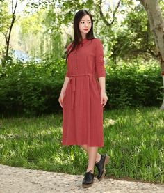 Women Long Soft Cotton Dress Shirt Long Sleeves Casaul Loose Maxi Dresses for Spring Fall Customized Plus Size Clothing Linen Shirt Dress, Blouse Dress, Long Sleeve Tunic, Long Sleeve Shirts, Frock For Women, Indian Designer Outfits, Spring Dresses, Cotton Dresses, Plus Size Outfits