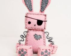 Pink Punk Robot Bunny with an Eye Patch, Bunny Ears and Paw Prints, Pirate Bunny Rabbit