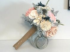 Blush dusty blue and ivory Wedding Bouquet sola by SylCadle