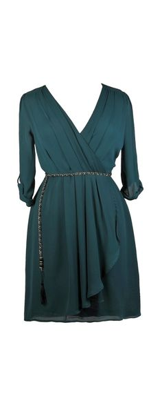 Lily Boutique Off The Chain Surplice Chiffon Wrap Dress in Teal- Plus Size, $40 Cute Plus Size Dress, Green Plus Size Wrap Dress, Plus Size Party Dress www.lilyboutique.com