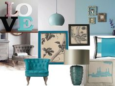 Blue Grey . Living room. Eclectic\ idea to add teal to my way too dark living room