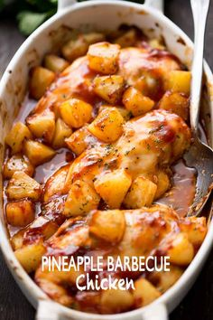 Use leftover can of pineapple and extra chicken breast from Tuesday dinner. Pineapple Barbecue Chicken - You're only a few ingredients away from this amazing, juicy, and SO delicious meal prepared with chicken, pineapples and barbecue sauce! Top Recipes, Dinner Recipes, Cooking Recipes, Healthy Recipes, Crockpot Recipes, Cooking Ribs, Barbecue Recipes, Pineapple Chicken Recipes, Easy Chicken Recipes