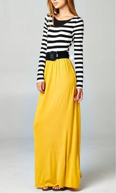 Women's Modest Color Block Maxi Dresses with Belt in Mustard available at www.apostolicclothing.com #modesty #modestfashion #modestdresses