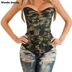 Wonder Beauty Women Corsets And Bustiers Camouflage Corset Top Plus Size Corsets Sexy Green Corpetes e espartilhos