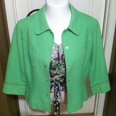 Size 12 Etcetera Jacket-matches shell in my closet 3/4 sleeve Spring Jacket.  Gorgeous bright green with pink lining. Etcetera Jackets & Coats