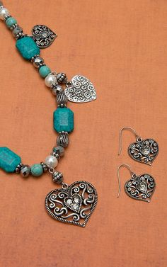 Blazin Roxx Silver Antique Heart Charm with Pearls & Turquoise Jewelry Set 30228