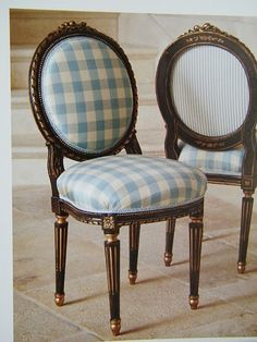 A darling child sized french chair in a sky blue check. Love that the back oval is stripes.