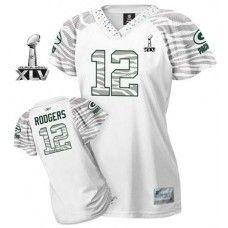 9c2a2e76d Packers  12 Aaron Rodgers White Women s Zebra Field Flirt Bowl Super Bowl  XLV Stitched NFL Jersey